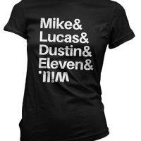 Camiseta negra nombres de Stranger Things