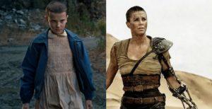 Comparativa de corte de pelo de Charlize Theron interpretando a Furiosa en Mad Max y Millie Bobby Brown siendo Eleven en Stranger Things